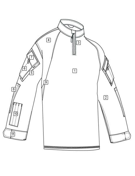 Line Drawing Zip : T r u zip winter combat shirt tru spec